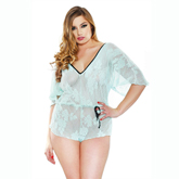 Stretch Lace Romper Seafoam Queen Size