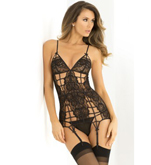 Caged Lace Garter Chemise and G-String Set